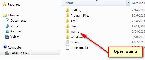 Locating and Opening WAMP folder