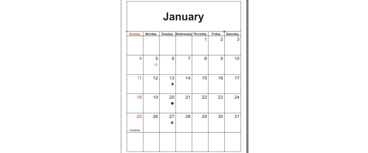generated calendar