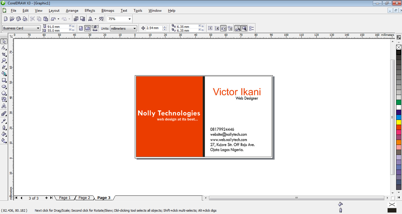 Business card design tutorial in coreldraw nollytech magicingreecefo Image collections