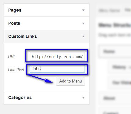 creating custom menu in WordPress
