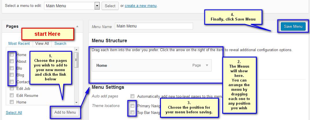 how to create menu in WordPress