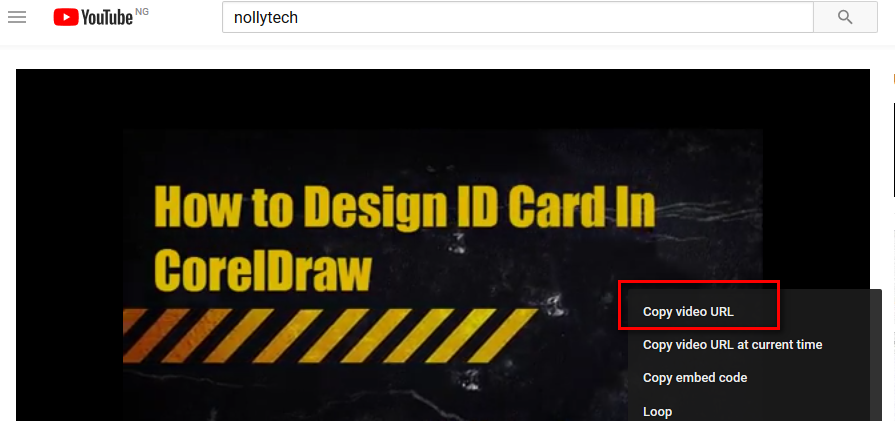Copy the Youtube video URL