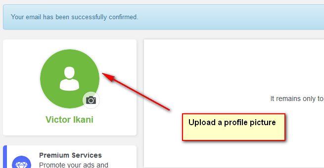 How to sell on jiji - Upload your profile picture