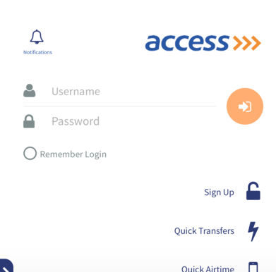 Access Bank Mobile App signup screen