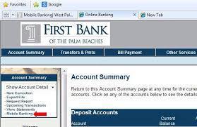 first bank online banking procedure