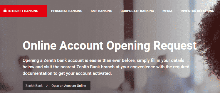 Open an Account Online Zenith Bank