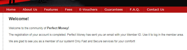 Perfect money welcome page