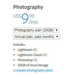 Creative Cloud Photography plan pricing