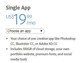 Creative Cloud Single App pricing