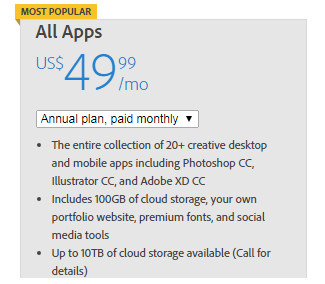 Creative Cloud all plan pricing