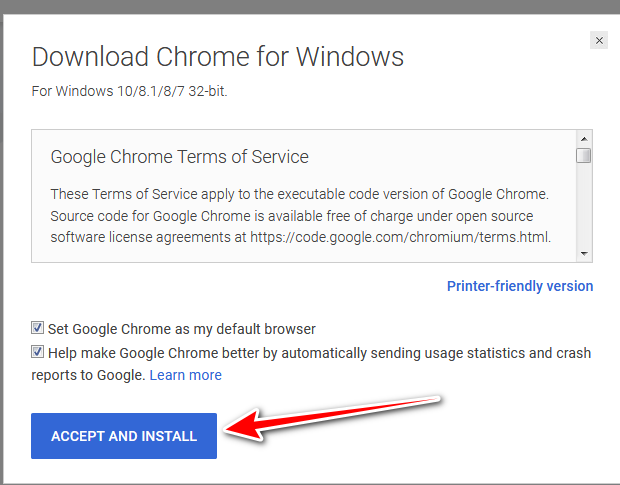 Accept and install Google Chrome