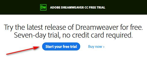 Download Dreamweaver free trial version