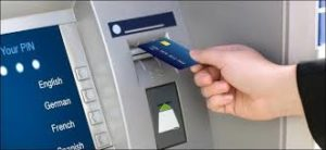 Inserting ATM card into the ATM Machine