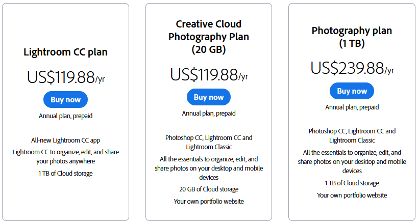 Adobe Lightroom Price