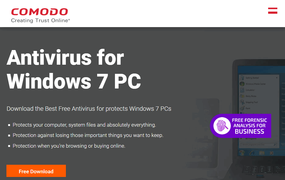 Comodo antivirus software for Windows 10