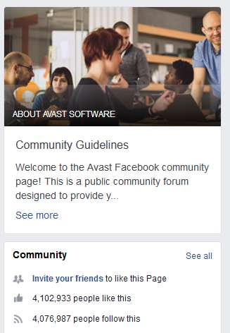 Avast Facebook page