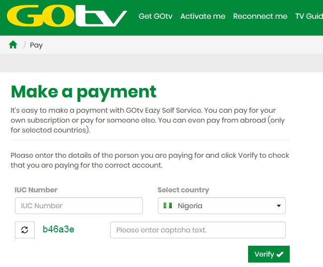 GoTv subscription using GlobaPay