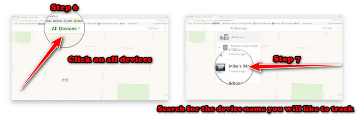 Click on all devices, and search for the device name you will like to track