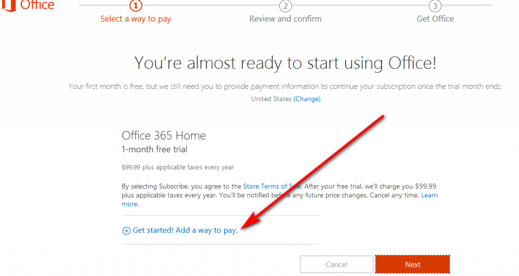 Add payment method to download Office 365 free