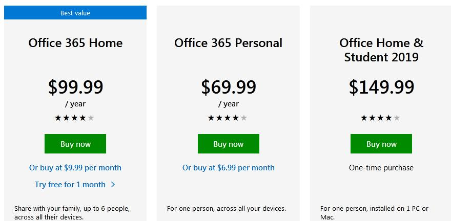 Microsoft Office for Mac pricing
