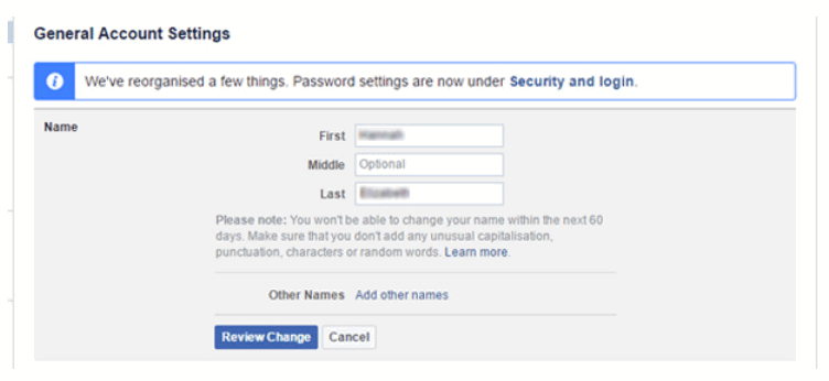How to change name of facebook