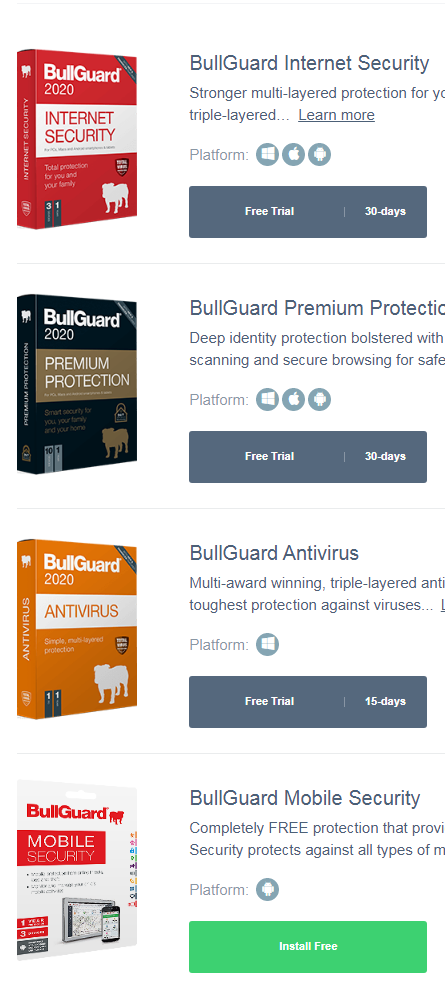 bullguard antivirus free download (Windows/Mac)