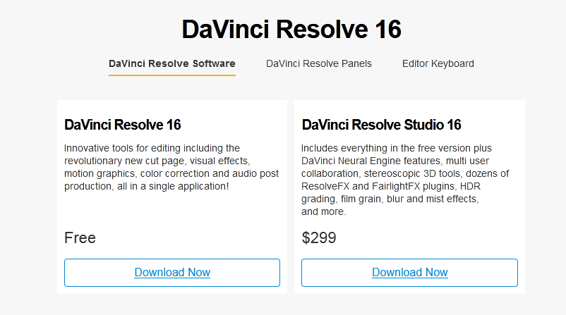 DaVinci Resolve free download and paid download