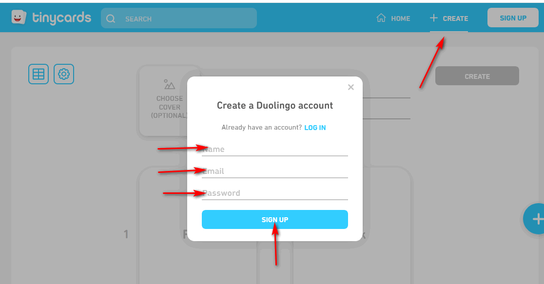 Duolingo TinyCards Create Account Interface