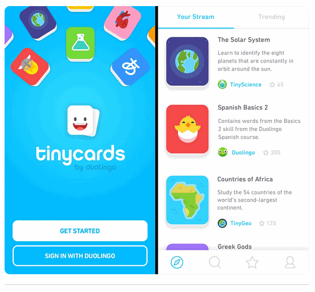 Duolingo TinyCards interfaces