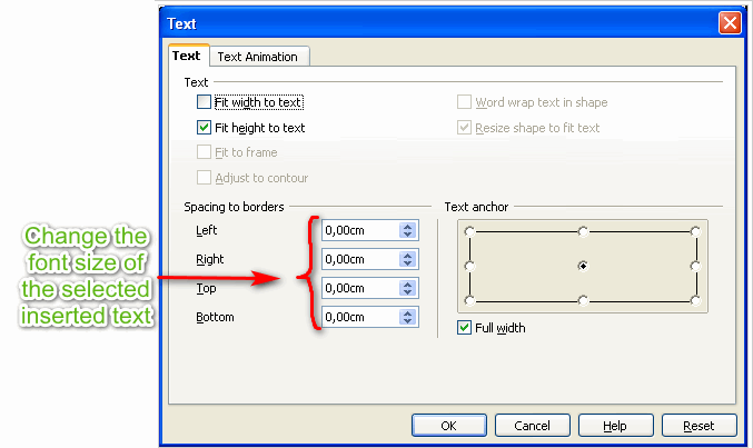 How to change font size on Open Office presentation