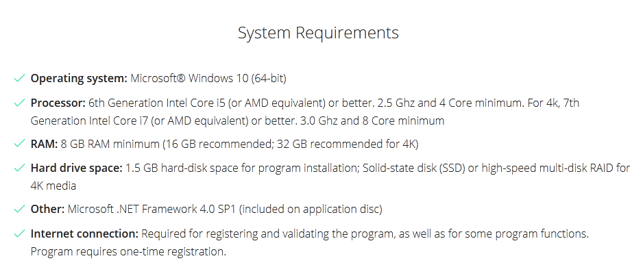 Vegas pro System requirement