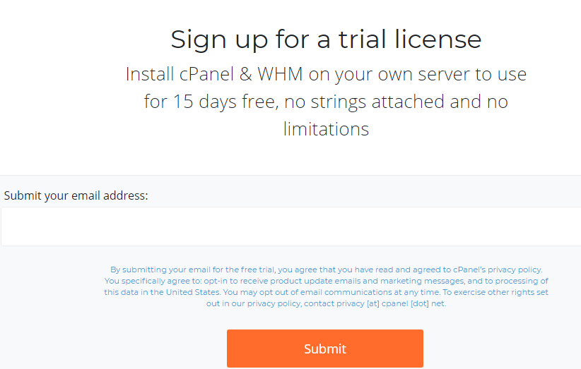 How to start cpanel free trial